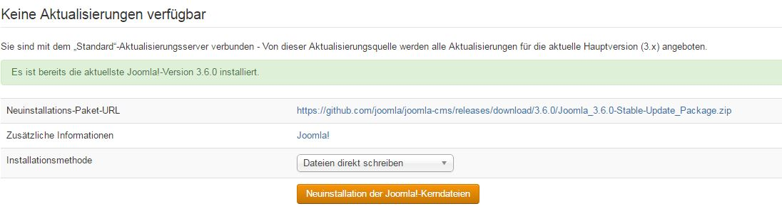 Neuinstallation der Joomla!-Core-Files